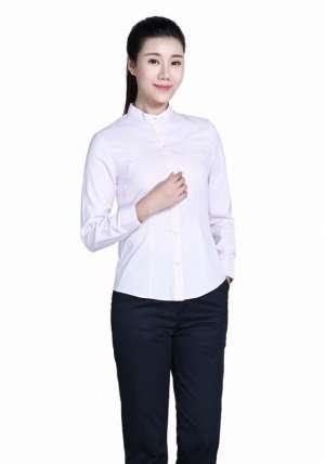 粉色立领长袖衬衫